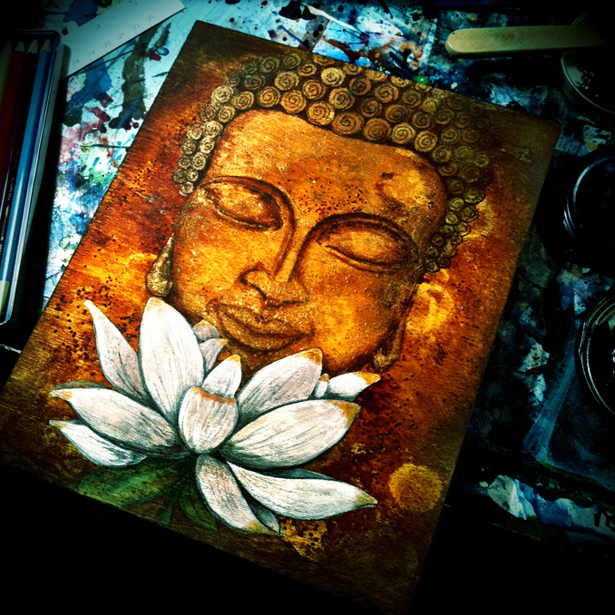White violet art my first buddha painting for Buddha mural paintings