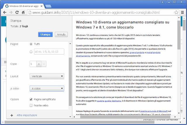 Chrome opzione di stampa Pagina semplificata