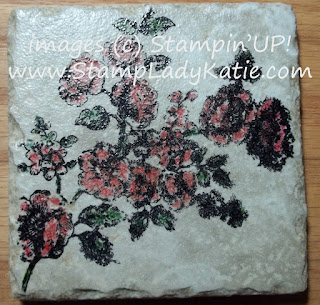 hand stamped tile coaster made with Stampin'UP!'s stamp set: Elements of Style