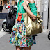 In the Street...Green + Orange + Violet + Flower prints + Gold...Desire of Summer