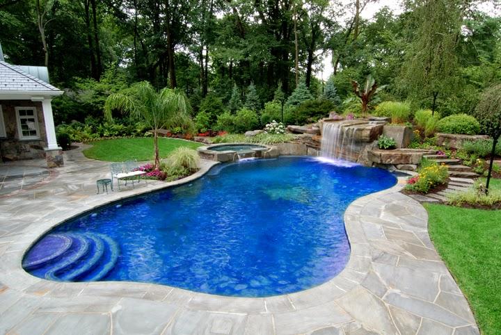 backyard swimming pool waterfall