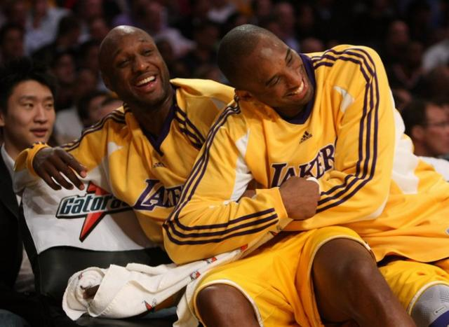 lakers Kobe Bryant and Lamar Odom sweet moments nba funny photos 2012 You smell that burning, San Diego? That's brimstone. Brace yourselves.