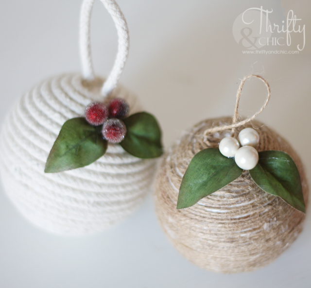 Jute and rope Christmas ornaments. Cute way to add texture!