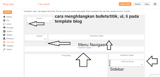 cara menghilangkan bullets/titik, ul, li pada template blog