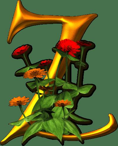 Letra Z decoração Flores png