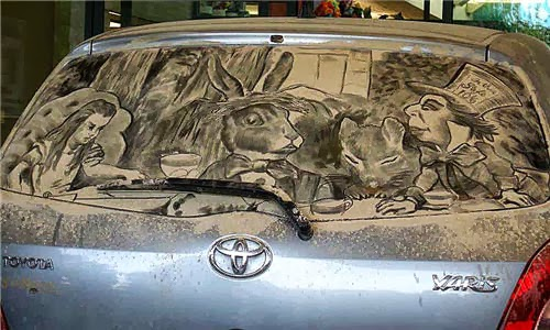 Mad Hatter's Tea Party - Scott Wade's Dirty Car Art