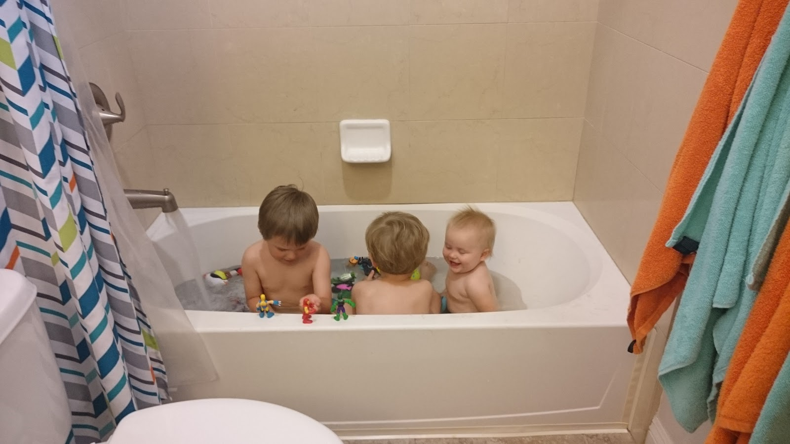 Harris Family} Three Men, And Two Lucky Ladies.: 3 Babies Bathing In ...