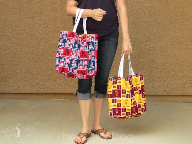 Free Sewing Pattern: Create your own reversible shopping tote bag.
