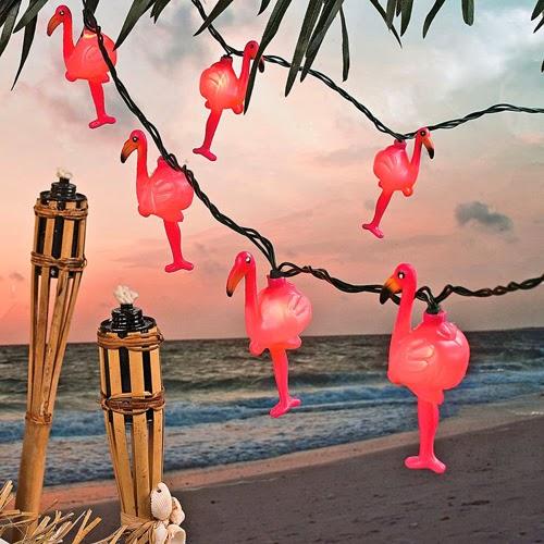 Guirnalda luces flamencos rosas