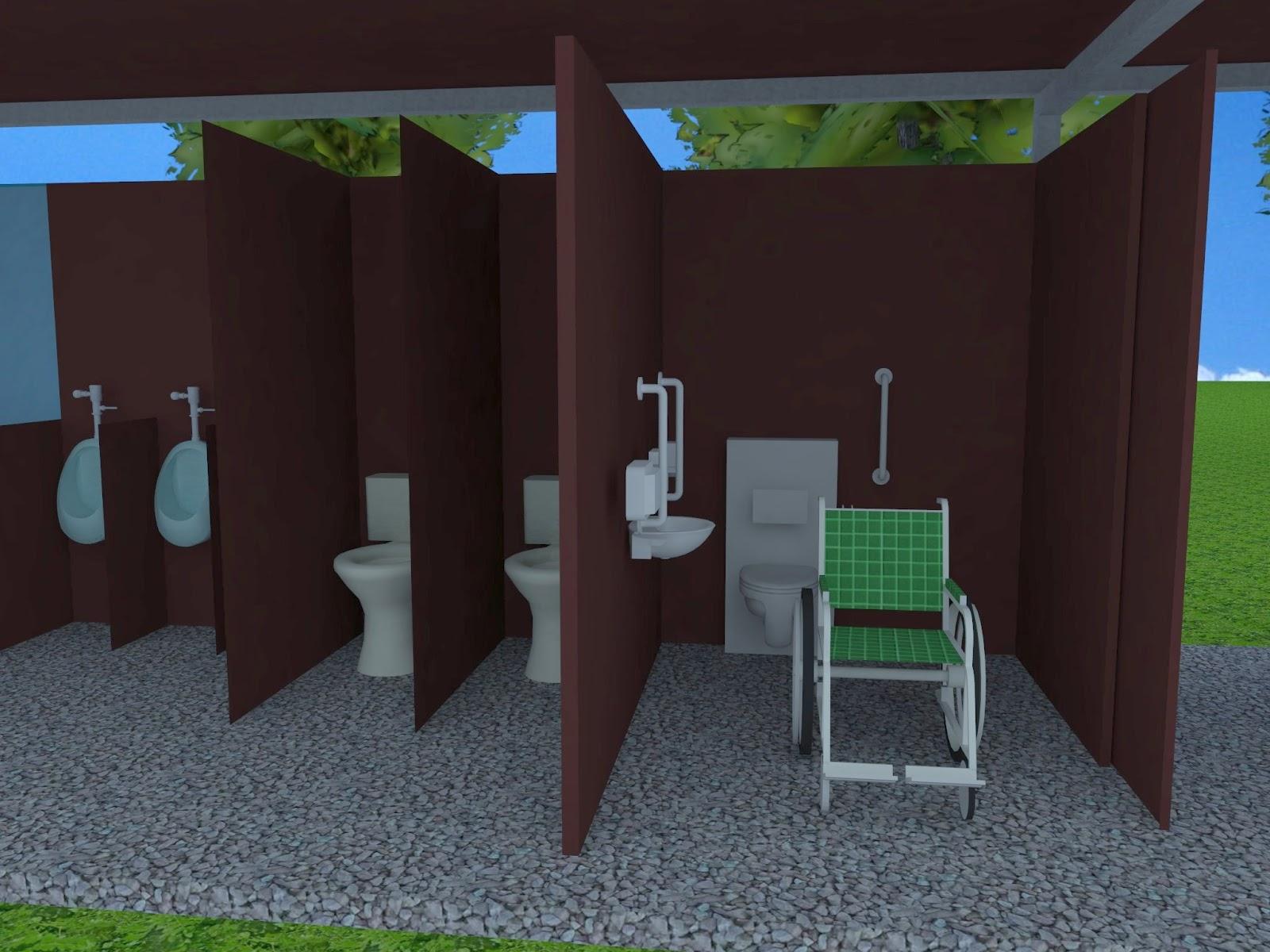 Baño Discapacitados Medidas:Para reducir los espacios interiores se decidió colocar las puertas