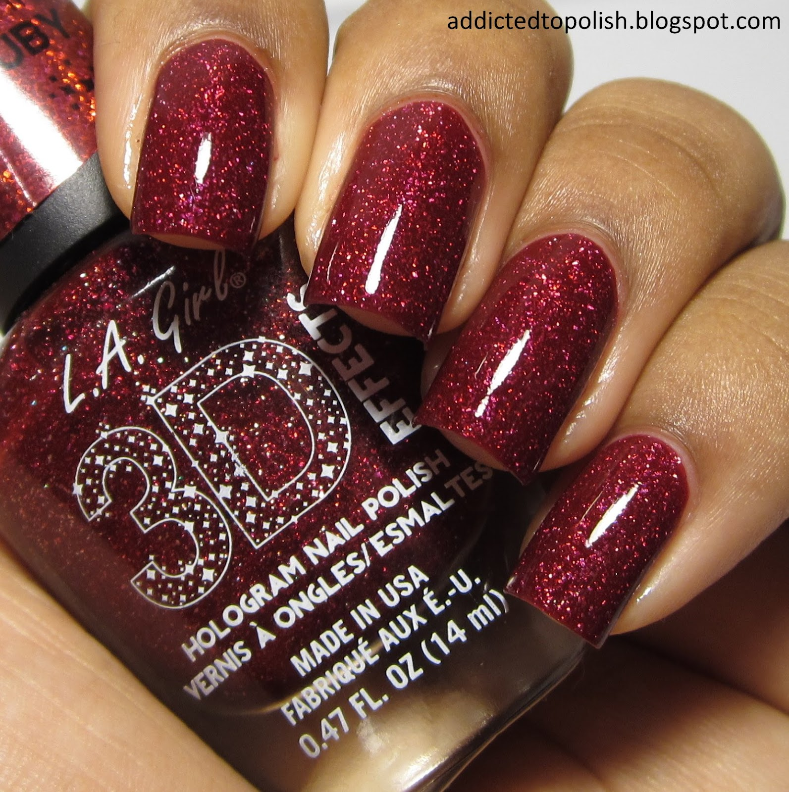 LA Girl 3D Effects Sparkle Ruby red holo nail polish swatch