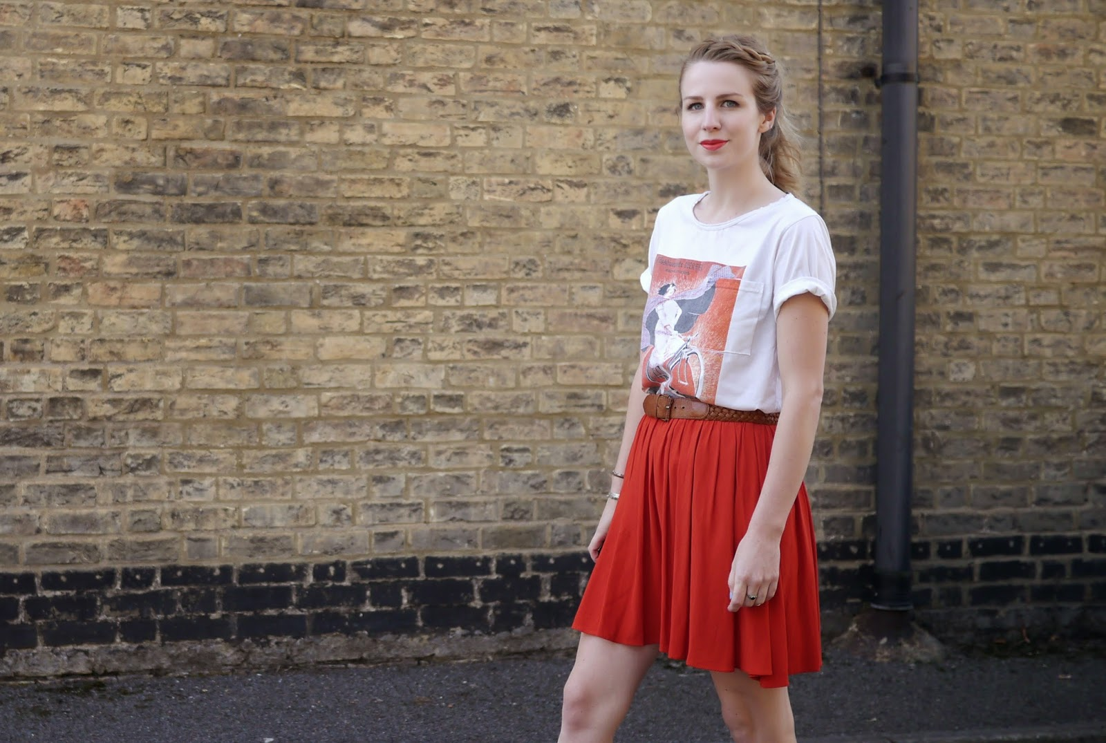 Topshop Red Flippy Skirt with Vintage Plait Belt & Graphic Print Tshirt