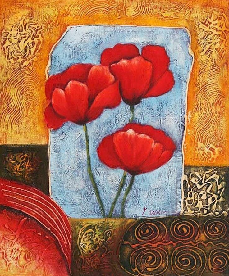 flores-rojas-en-cuadros-tripiticos