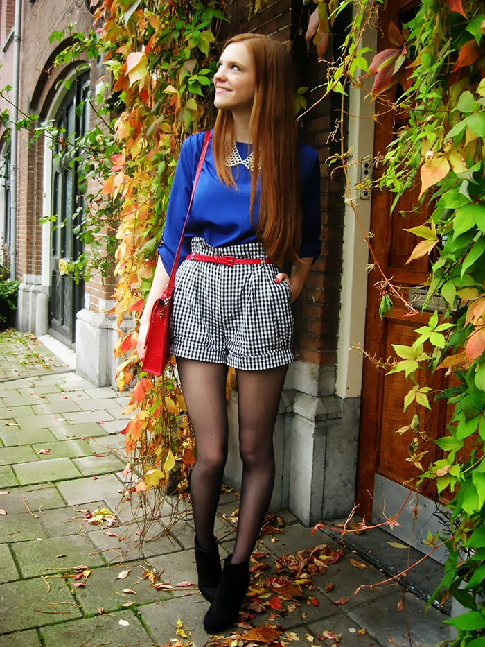 Personal Style Fashion Blog outfit cobalt blue red grey leather jacket
