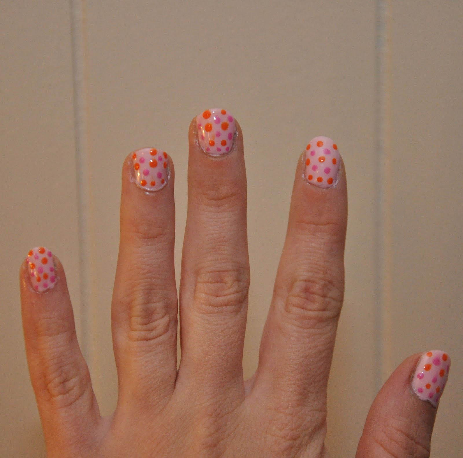 A Light Pink Base Coat With Bright Orange And Polka Dot Design The Works Perfectly My Colors Dots Couldnt Be