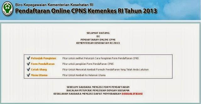 Cara Mendaftar Online CPNS Kementrian Kesehatan Kemenkes 2013