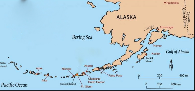 A map showing the Aleutian Islands in relation to Alaska