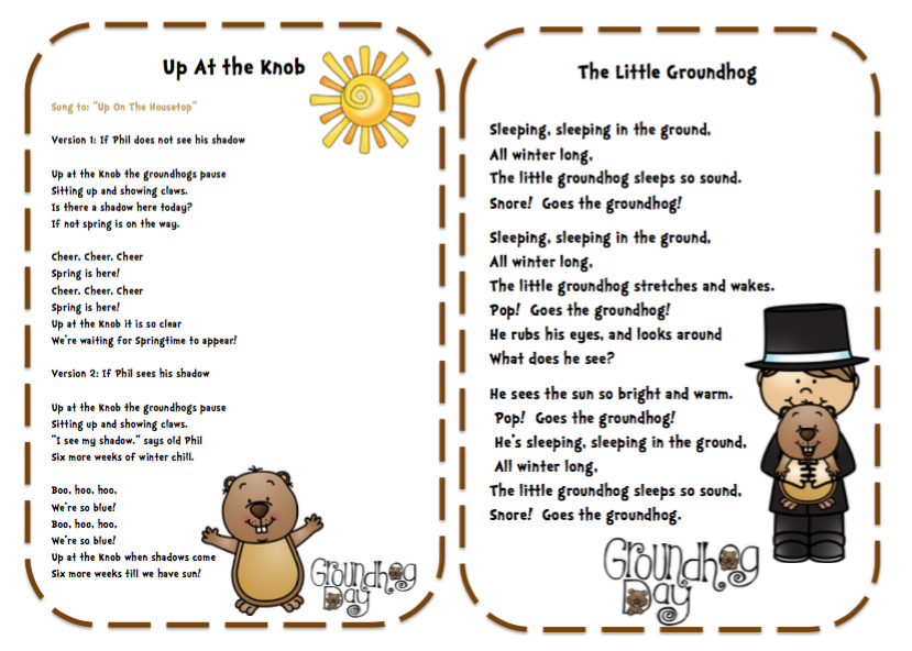 Groundhog Day Songs, Poems and Finger Play & Puppet Sticks ...