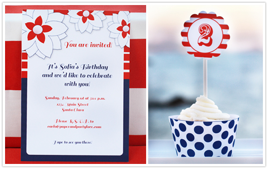 red white blue party invitation and cupcake topper