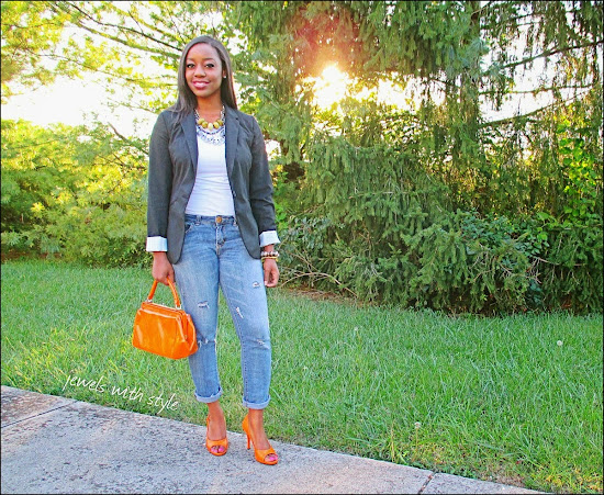 fashion blogger, style advice, M Renee Design, Jewels with Style, handmade jewelry, black fashion blogger, orange shoes, orange purse, boyfriend jeans, Target black blazer