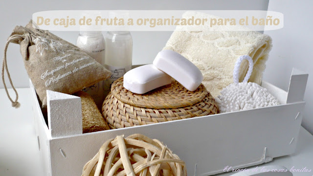 caja madera fruta organizador baño