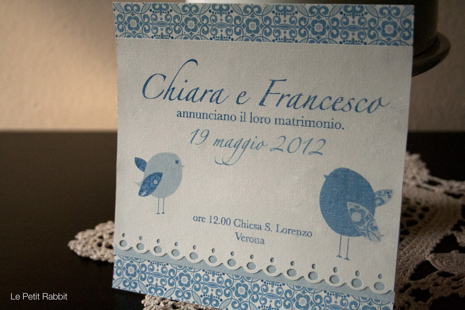 Partecipazioni Matrimonio Azzurro Polvere : Wedding invitation in blue le petit rabbit