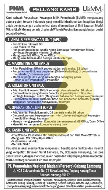 Lowongan Kerja PT. Permodalan Nasional Madani (Persero) Lampung
