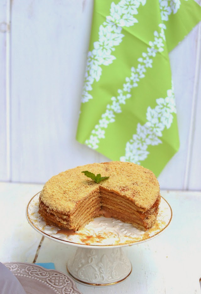 Russian Honey Cake -- Medovik (with Eggless Custard Filling)