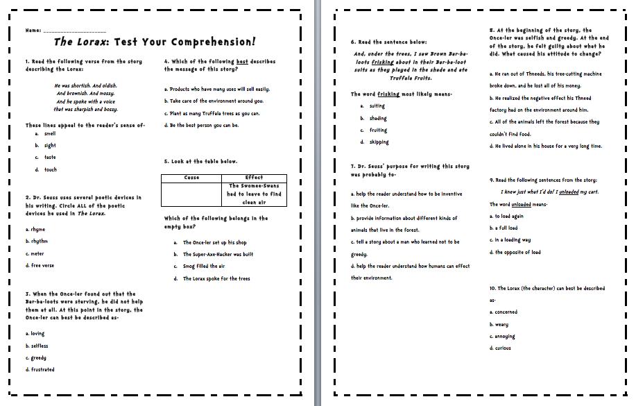 Printables Student Worksheet To Accompany The Lorax worksheet to accompany the lorax davezan student davezan