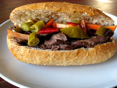 Slow Cooker Italian Beef Sandwiches from Elly Says Opa featured on SlowCookerFromScratch.com