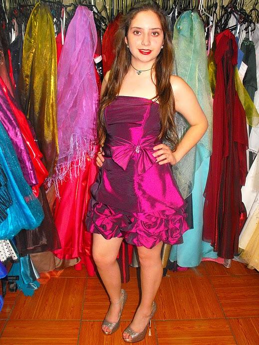 vestido taffetan globo ajustable corto
