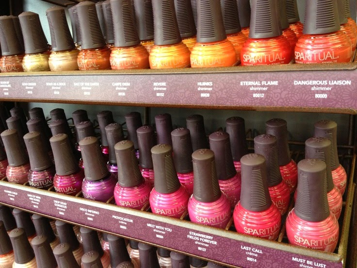 Bottles of Sparitual Nail Polish that is sold as Pür Spa