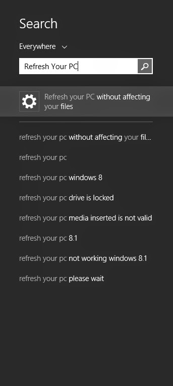 Install Ulang WIndows 8 dengan Fitur Refresh Your PC Tanpa CD