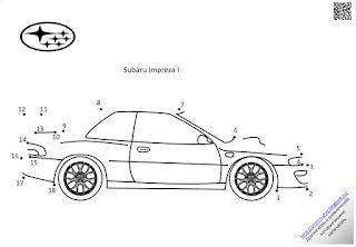 Раскраска-обводилка. Subaru Impreza I