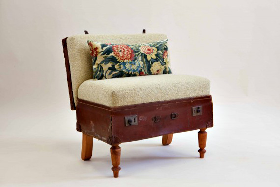this adorable ottoman is made from a vintage suitcase with some fabric and upholstery magic