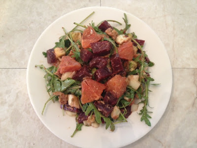 Beet salad with blood orange, avocado and fennel recipe