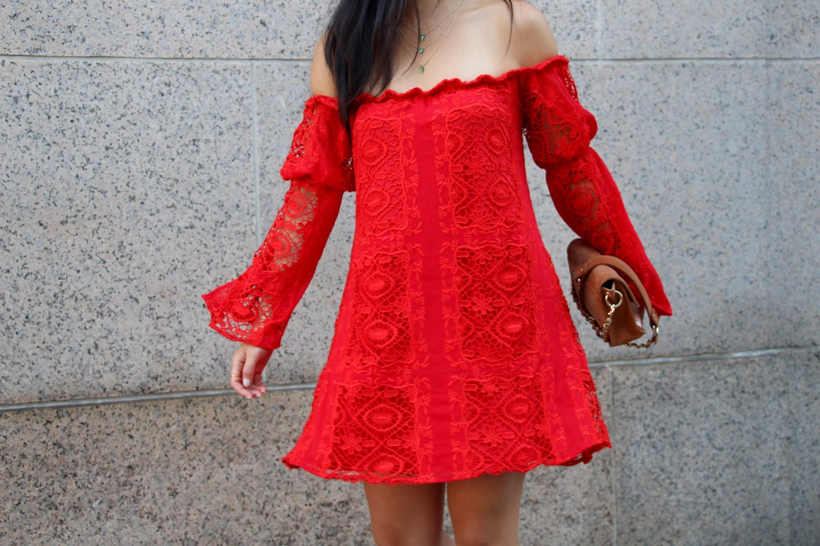 For Love and Lemons garden rose lace red dress off the shoulder