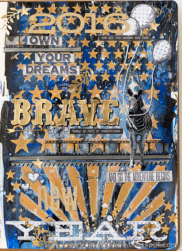 Layers of ink - Brave New Year art journal page by Anna-Karin
