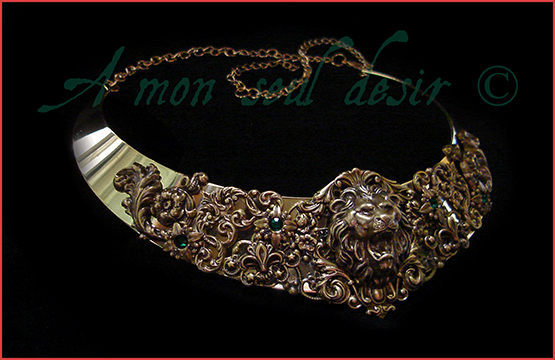 Collier médiéval Lion Leo Bronze Torque Cersei Lannister Hear Me Roar Necklace Torc