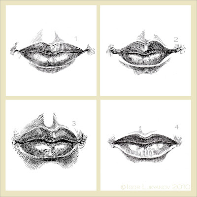 female lips drawing, woman mouth