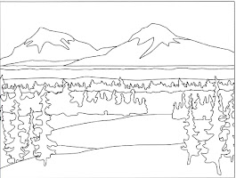 Winter Mountains Coloring Pages