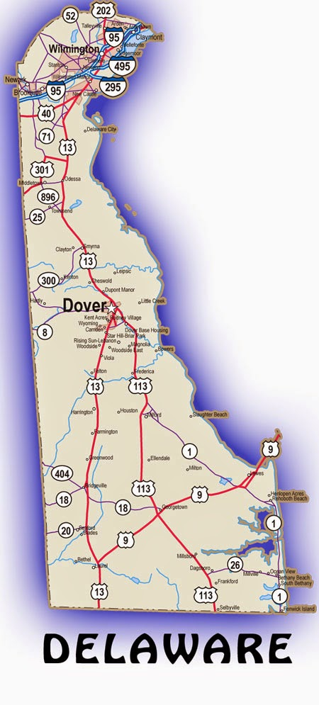 Printable US State Maps Free Printable Maps - Road map of delaware