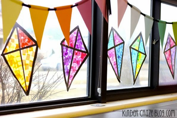kindergarten spring kite craft made with tissue paper and clear contact paper