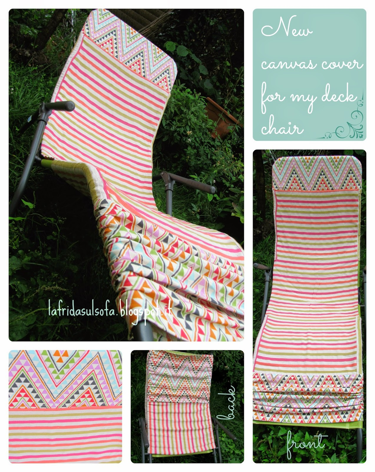 La frida sul sofà: Nuovo rivestimento in cotone per lo sdraio. New canvas cover for my deck chair