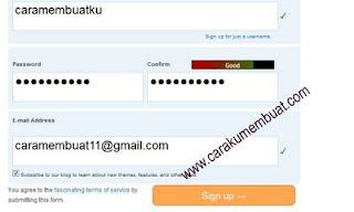 memasukkan email di wordpress