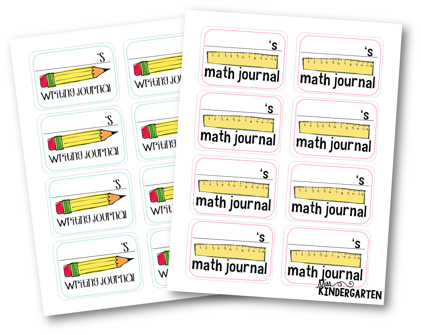 Labels for math and writing journals {freebies!}