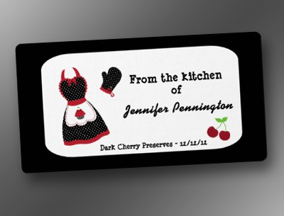 Retro vintage cherry from kitchen of food labels