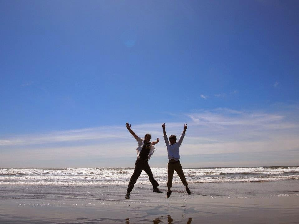 jumping on the beach in california