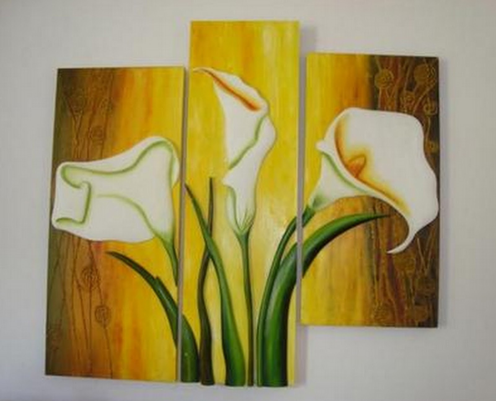 Cuadros modernos pinturas y dibujos flores for Imagenes de cuadros abstractos tripticos