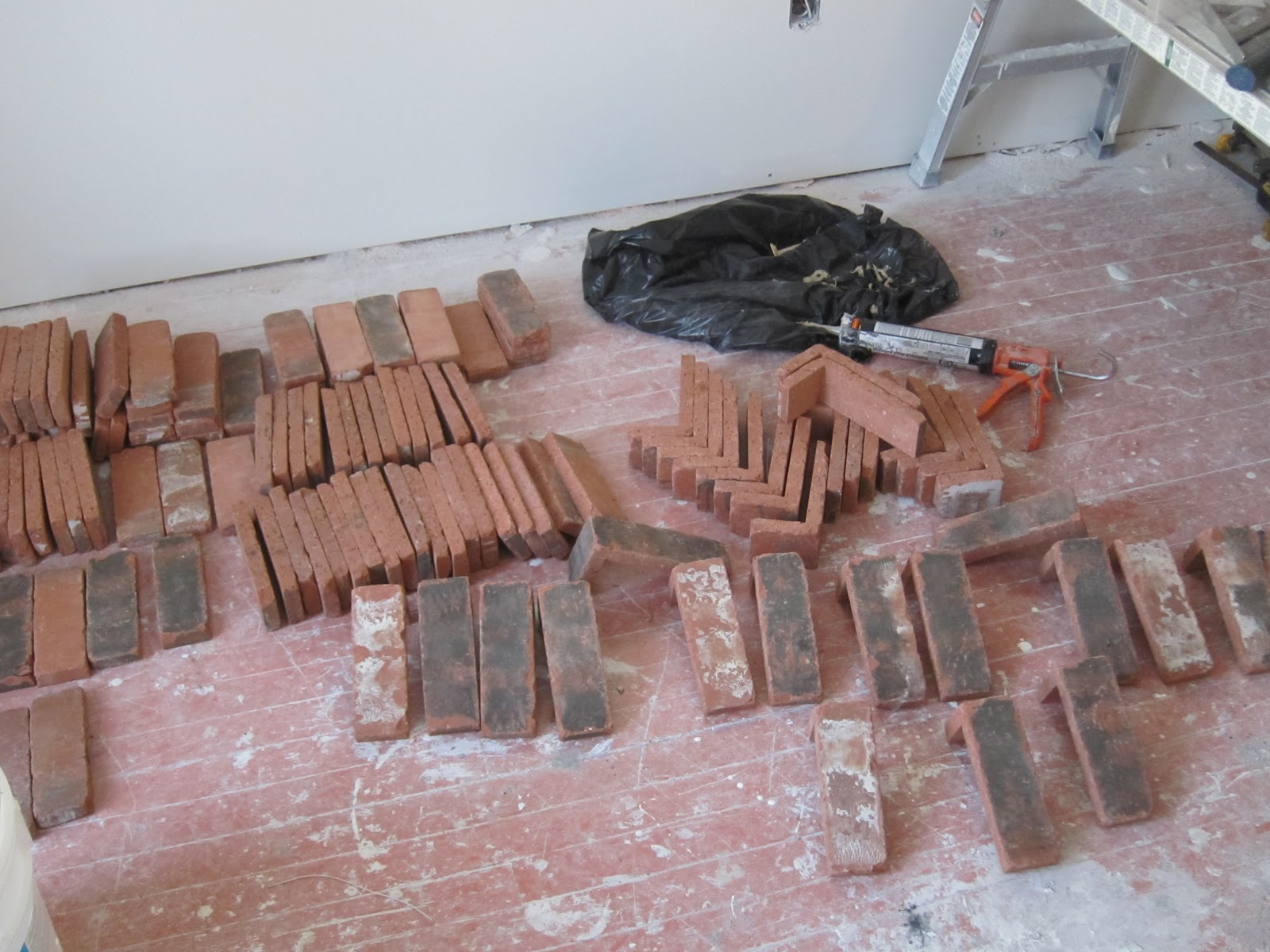 Adventures at 1628 how to create a brick chimney for Glue on brick veneer